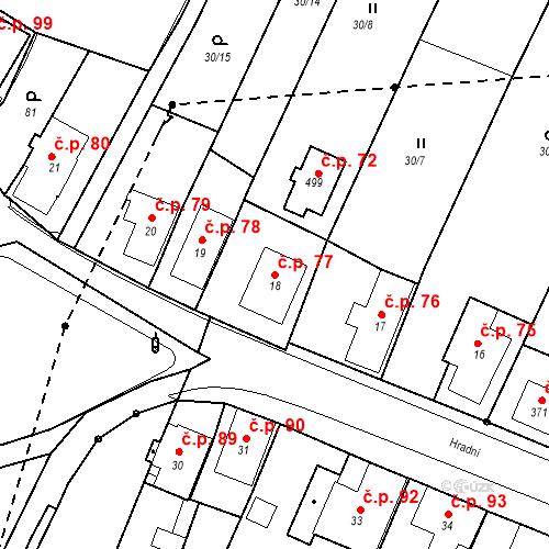 Katastrální mapa Stavební objekt Nový Hrádek 77, Nový Hrádek