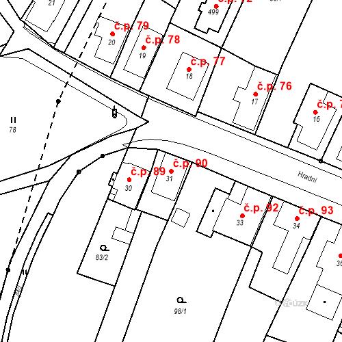 Katastrální mapa Stavební objekt Nový Hrádek 90, Nový Hrádek