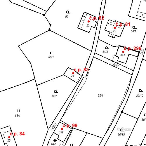 Katastrální mapa Stavební objekt Nový Hrádek 83, Nový Hrádek