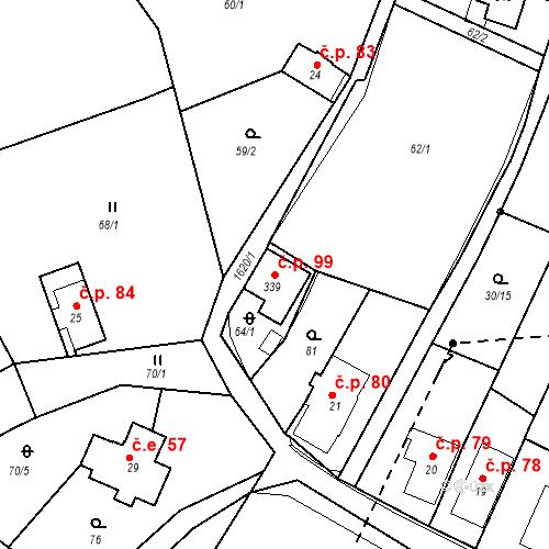 Katastrální mapa Stavební objekt Nový Hrádek 99, Nový Hrádek
