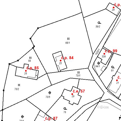 Katastrální mapa Stavební objekt Nový Hrádek 84, Nový Hrádek