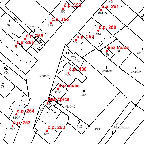 Katastrální mapa Stavební objekt Novosedly 436, Novosedly