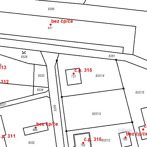 Katastrální mapa Stavební objekt Vlasatice 315, Vlasatice