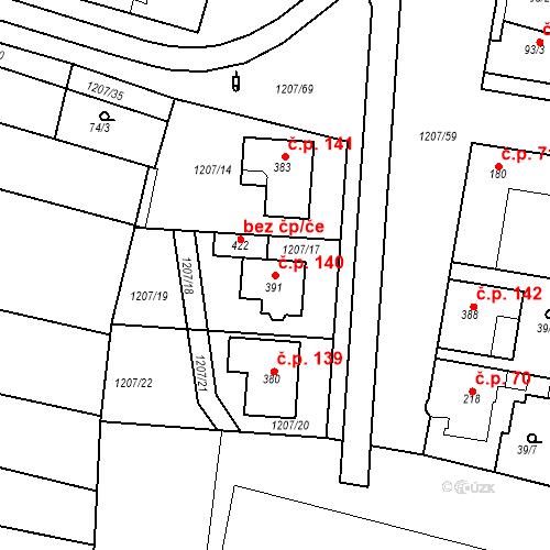 Katastrální mapa Stavební objekt Nový Přerov 140, Nový Přerov