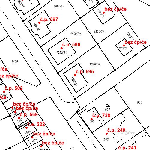 Katastrální mapa Stavební objekt Drnholec 595, Drnholec