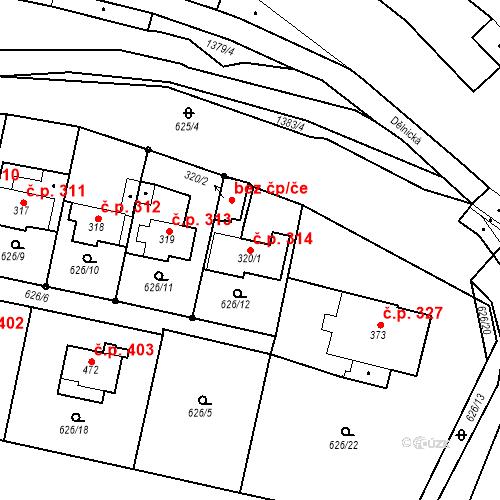 Katastrální mapa Stavební objekt Brandýs nad Orlicí 314, Brandýs nad Orlicí
