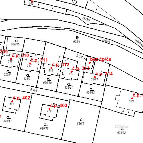Katastrální mapa Stavební objekt Brandýs nad Orlicí 313, Brandýs nad Orlicí