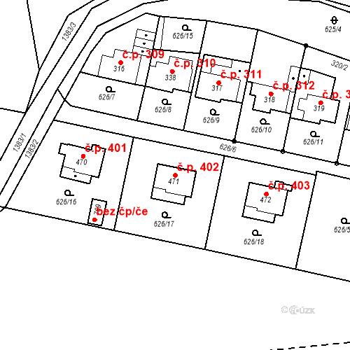 Katastrální mapa Stavební objekt Brandýs nad Orlicí 402, Brandýs nad Orlicí