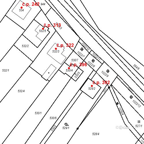 Katastrální mapa Stavební objekt Tetčice 396, Tetčice