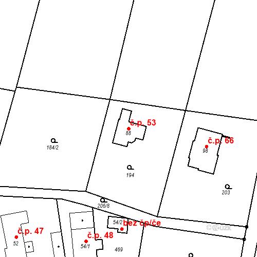 Katastrální mapa Stavební objekt Domašín 53, Černíkovice