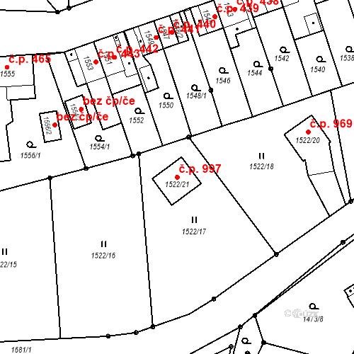 Katastrální mapa Stavební objekt Hronov 997, Hronov