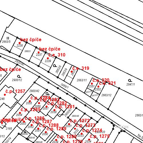 Katastrální mapa Stavební objekt Rosice 319, Rosice