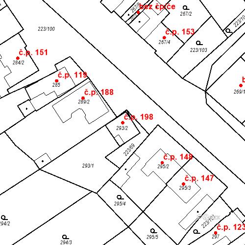 Katastrální mapa Stavební objekt Branišovice 198, Branišovice