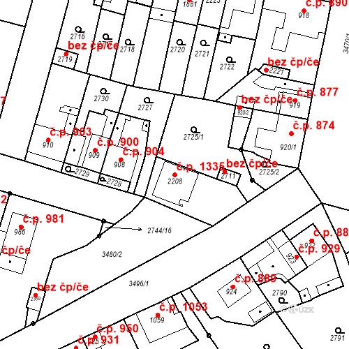 Katastrální mapa Stavební objekt Rosice 1335, Rosice
