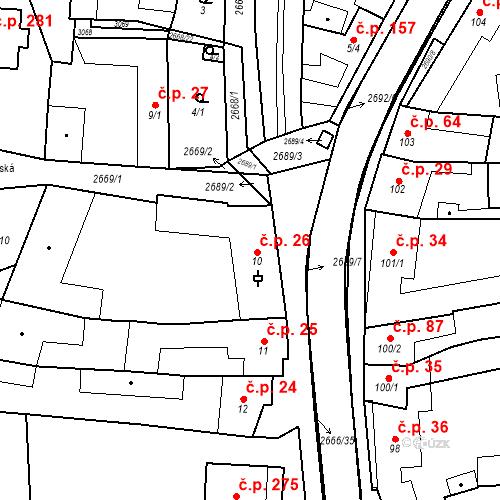 Katastrální mapa Stavební objekt Neslovice 26, Neslovice