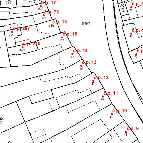 Katastrální mapa Stavební objekt Neslovice 13, Neslovice