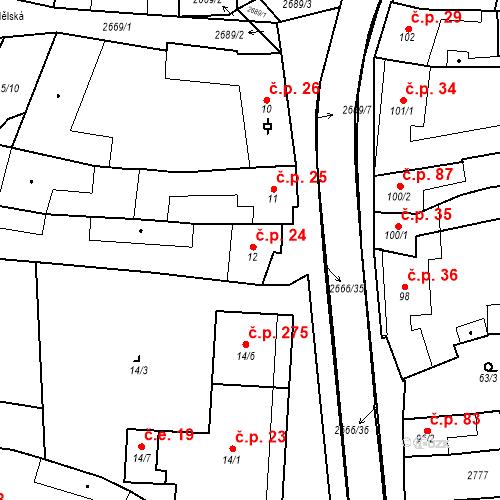 Katastrální mapa Stavební objekt Neslovice 24, Neslovice