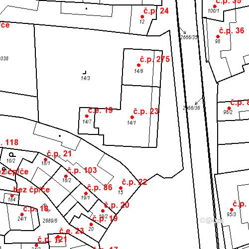 Katastrální mapa Stavební objekt Neslovice 23, Neslovice