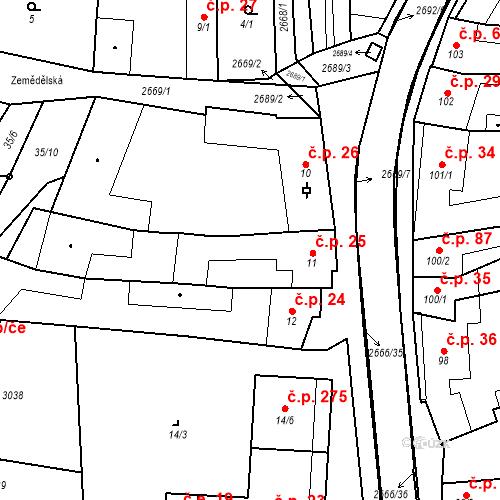 Katastrální mapa Stavební objekt Neslovice 25, Neslovice