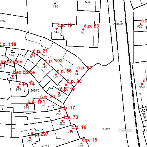 Katastrální mapa Stavební objekt Neslovice 22, Neslovice