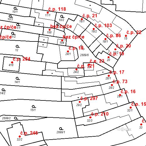 Katastrální mapa Stavební objekt Neslovice 121, Neslovice