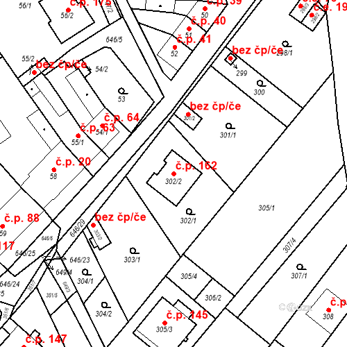 Katastrální mapa Stavební objekt Kratochvilka 162, Kratochvilka