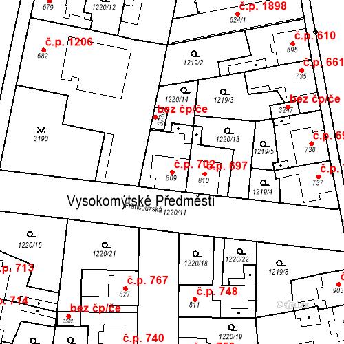 Katastrální mapa Stavební objekt Choceň 702, Choceň