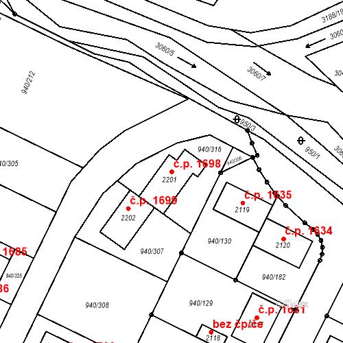 Katastrální mapa Stavební objekt Ivančice 1698, Ivančice
