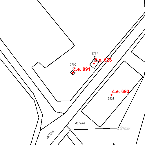 Katastrální mapa Stavební objekt Horní Předměstí 891, Polička