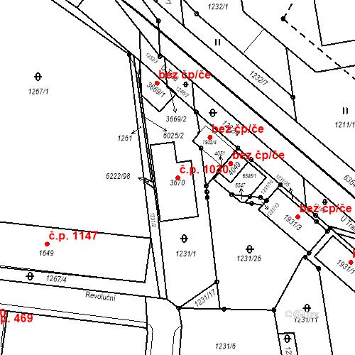 Katastrální mapa Stavební objekt Horní Předměstí 1030, Polička