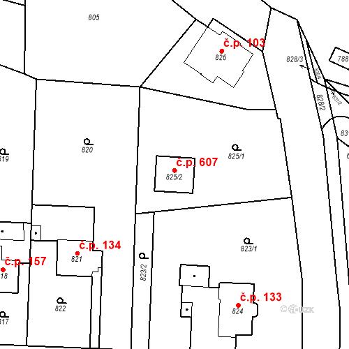 Katastrální mapa Stavební objekt Zastávka 607, Zastávka
