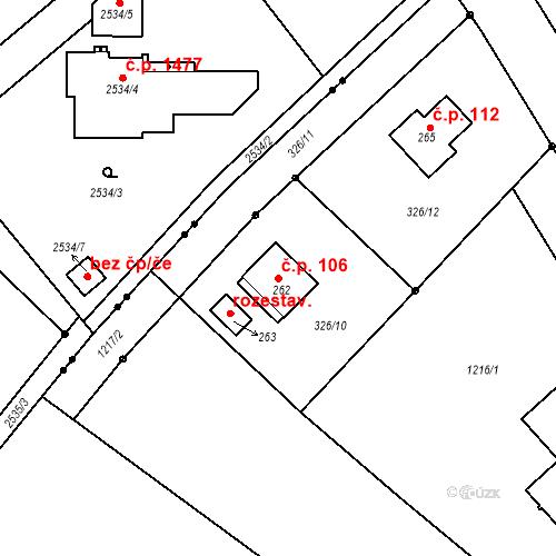 Katastrální mapa Stavební objekt Kostelecká Lhota 106, Kostelec nad Orlicí