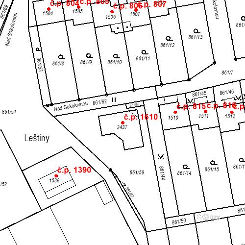 Katastrální mapa Stavební objekt Nové Město nad Metují 1610, Nové Město nad Metují