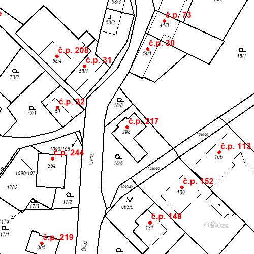 Katastrální mapa Stavební objekt Domašov 217, Domašov