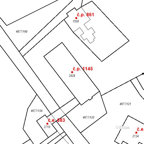 Katastrální mapa Stavební objekt Horní Předměstí 1145, Polička