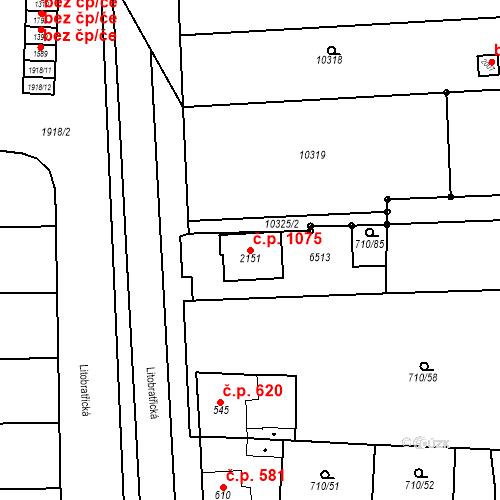 Katastrální mapa Stavební objekt Hrušovany nad Jevišovkou 1075, Hrušovany nad Jevišovkou