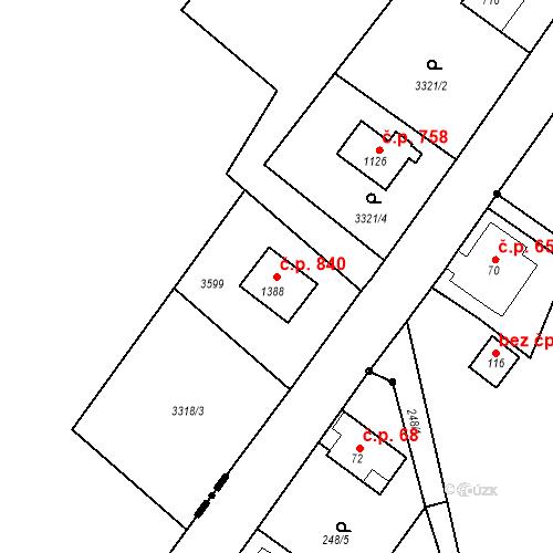 Katastrální mapa Stavební objekt Rtyně v Podkrkonoší 840, Rtyně v Podkrkonoší