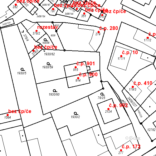 Katastrální mapa Stavební objekt Hrušovany nad Jevišovkou 900, Hrušovany nad Jevišovkou