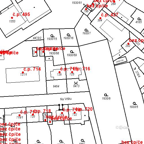 Katastrální mapa Stavební objekt Hrušovany nad Jevišovkou 716, Hrušovany nad Jevišovkou