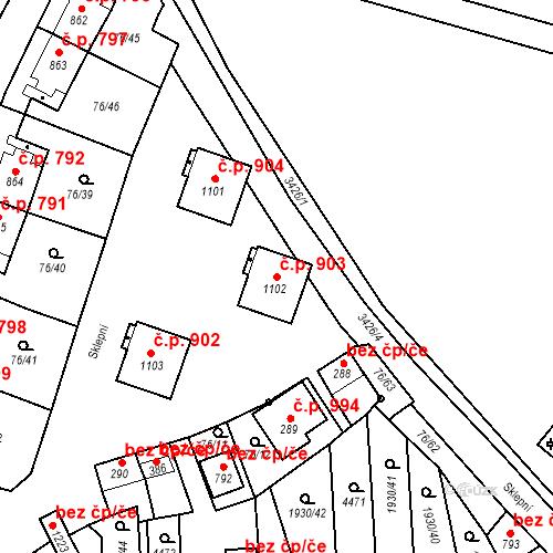 Katastrální mapa Stavební objekt Hrušovany nad Jevišovkou 903, Hrušovany nad Jevišovkou