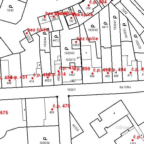 Katastrální mapa Stavební objekt Hrušovany nad Jevišovkou 899, Hrušovany nad Jevišovkou