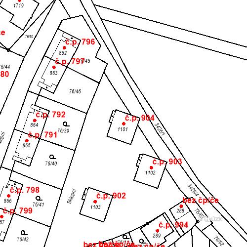 Katastrální mapa Stavební objekt Hrušovany nad Jevišovkou 904, Hrušovany nad Jevišovkou