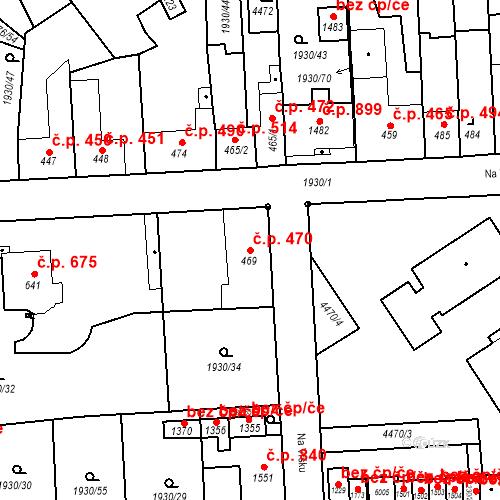 Katastrální mapa Stavební objekt Hrušovany nad Jevišovkou 470, Hrušovany nad Jevišovkou