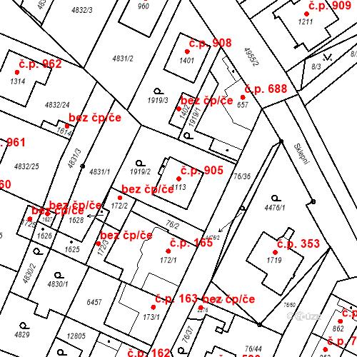 Katastrální mapa Stavební objekt Hrušovany nad Jevišovkou 905, Hrušovany nad Jevišovkou
