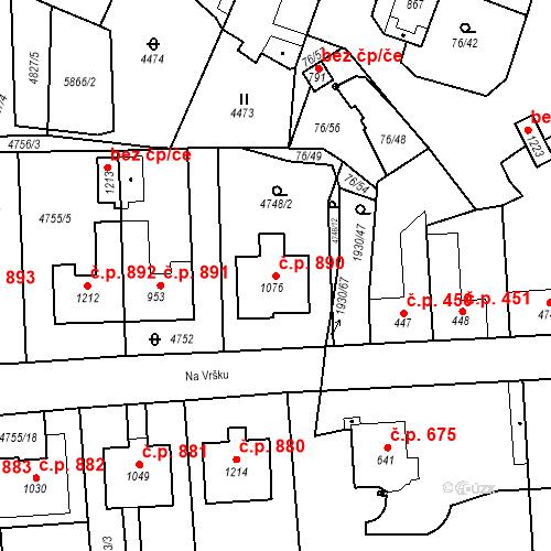 Katastrální mapa Stavební objekt Hrušovany nad Jevišovkou 890, Hrušovany nad Jevišovkou