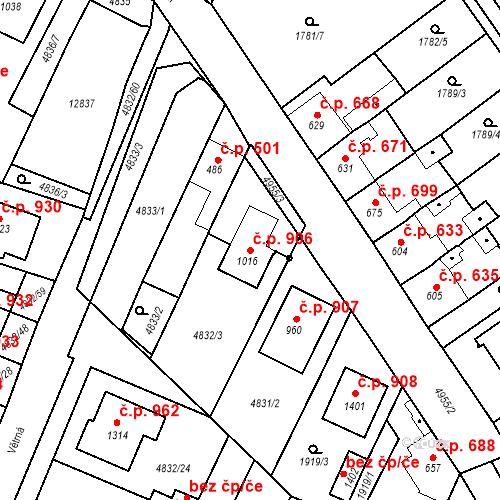 Katastrální mapa Stavební objekt Hrušovany nad Jevišovkou 906, Hrušovany nad Jevišovkou