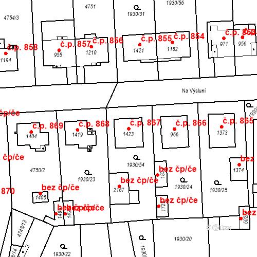 Katastrální mapa Stavební objekt Hrušovany nad Jevišovkou 867, Hrušovany nad Jevišovkou