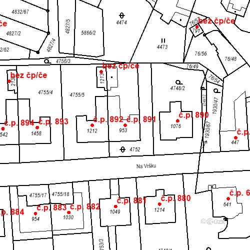 Katastrální mapa Stavební objekt Hrušovany nad Jevišovkou 891, Hrušovany nad Jevišovkou