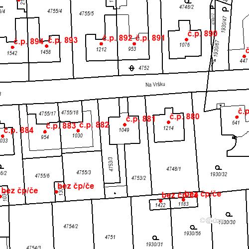 Katastrální mapa Stavební objekt Hrušovany nad Jevišovkou 881, Hrušovany nad Jevišovkou