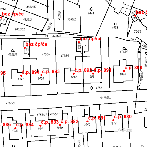 Katastrální mapa Stavební objekt Hrušovany nad Jevišovkou 892, Hrušovany nad Jevišovkou
